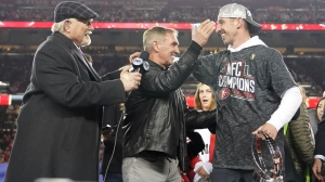 Watch Mike Shanahan Hand Son Kyle NFC Championship Trophy After 49ers Win