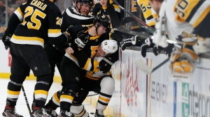 Torey Krug, Connor Clifton Drop Gloves In (Fake) Fight During Bruins Practice