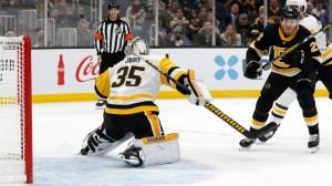 Par Lindholm Pots Sweet Backhanded Goal To Give Bruins Lead Vs. Penguins