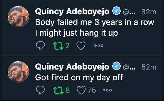 NFL receiver Quincy Adeboyejo