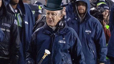 Pete Carroll Struts On Sideline With Top Hat Monocle Cane In Hilarious Gif Nesn Com