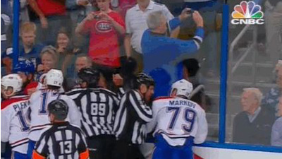 Lightning Canadiens Fight Gives Fan Perfect Opportunity For Selfie Gif Nesn Com