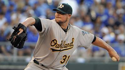 Oakland Athletics pitcher Jon Lester