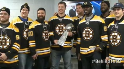 Patriots players get honored at a Bruins game