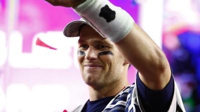 Patriots quarterback Tom Brady celebrates after winning the Super Bowl.