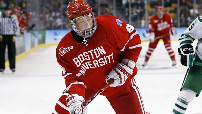 Jack Eichel makes a play during the Frozen Four