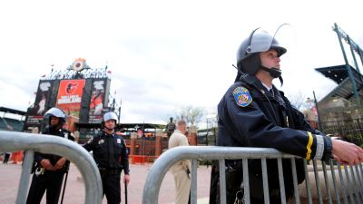A police officer outside Camden Yards