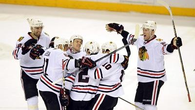 Blackhawks Celebrate Playoff Win Over Predators