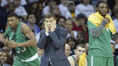 Boston Celtics head coach Brad Stevens reacts