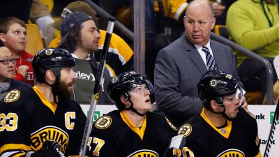 Bruins head coach Claude Julien looks on