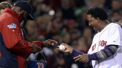 Boston Red Sox slugger David Ortiz and former Boston Red Sox pitcher Pedro Martinez