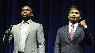 Floyd Mayweather and Manny Pacquiao at a press conference