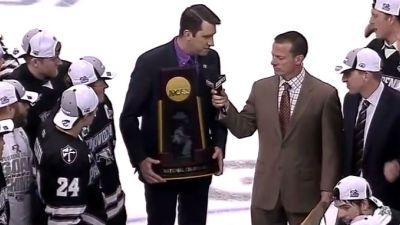 Frozen Four trophy presenter screws up