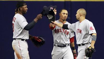 Boston Red Sox outfielders Hanley Ramirez, Mookie Betts and Shane Victorino