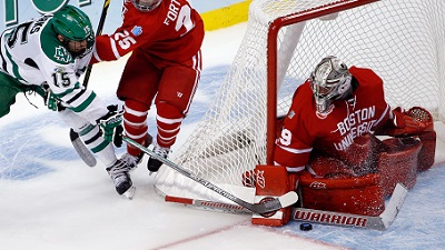 BU goalie Matt O'Connor blocks a shot in the Frozen Four