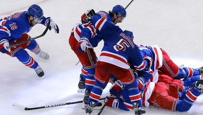 Rangers react after defeating the Pittsburgh Penguins in the first-round series.