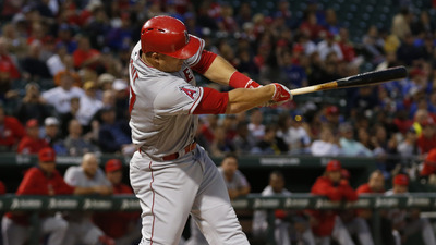 Los Angles Angels outfielder Mike Trout (27) at bat during the fourth inning vs. the Texas Rangers