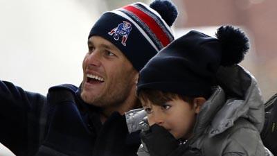 Tom Brady and Benjamin Brady at Patriots parade