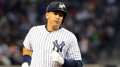 ARod rounds the bases after hitting a home run.