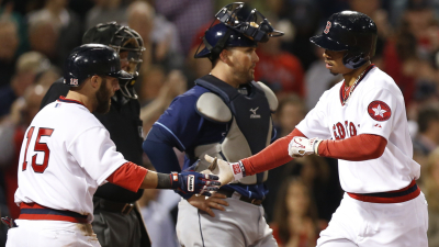 Boston Red Sox second baseman Dustin Pedroia and outfielder Mookie Betts