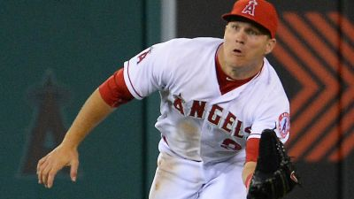 Angels outfielder Mike Trout makes a catch