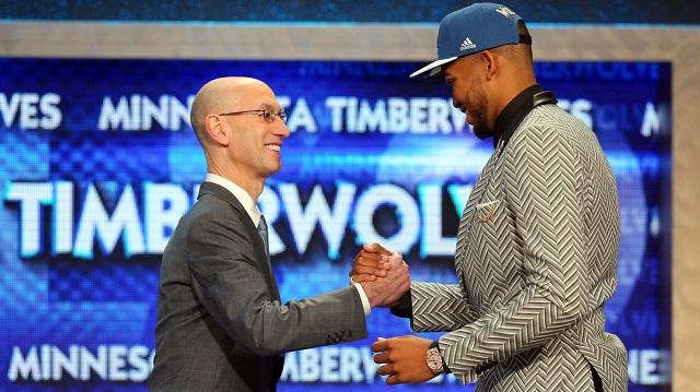 Adam Silver greets No. 1 pick Karl-Anthony Towns at 2015 NBA Draft