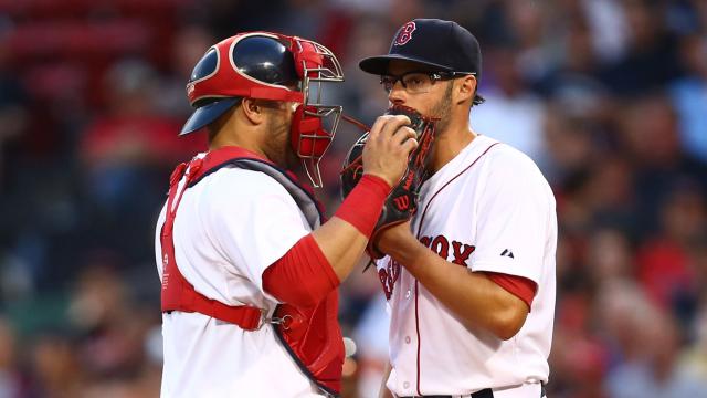 Boston Red Sox catcher Sandy Leon and pitcher Joe Kelly