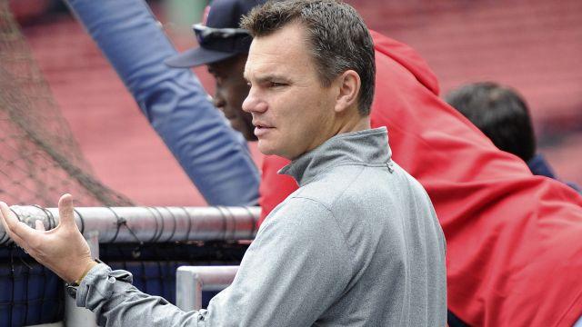 Boston Red Sox general manager Ben Cherington watches batting