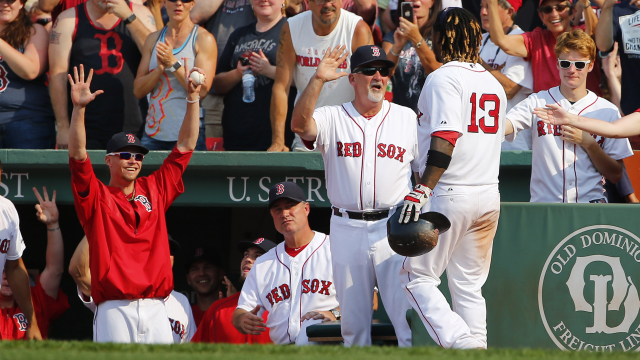 Boston Red Sox outfielder Hanley Ramirez and pitching coach Carl Willis