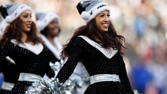 Raiders cheerleader performs
