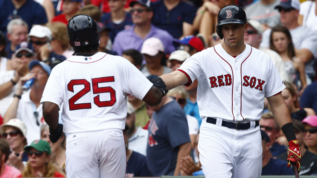 Jackie Bradley Jr. and Garin Cecchini of the Boston Red Sox