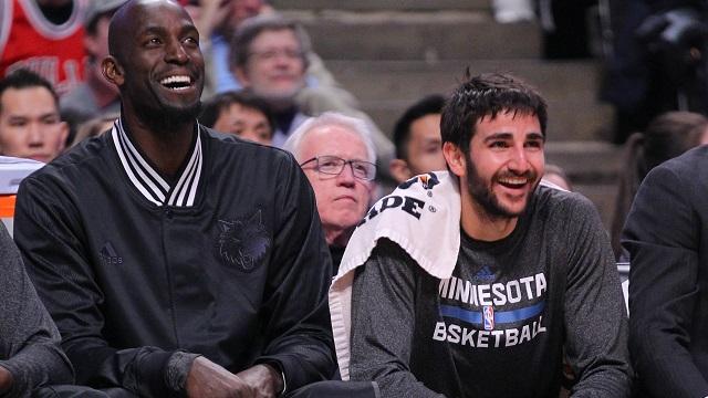 Minnesota Timberwolves players Kevin Garnett, Ricky Rubio