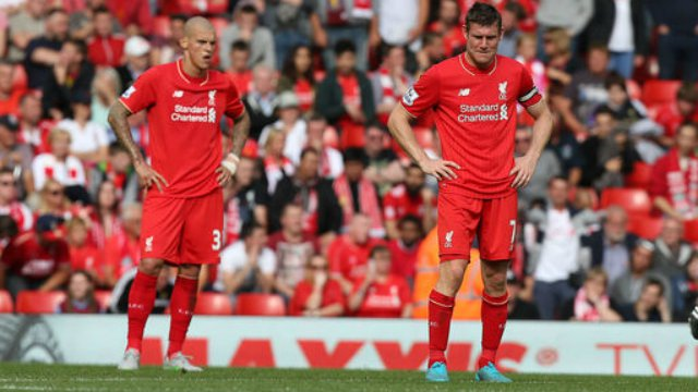 Martin Skrtel and James Milner in Liverpool's loss to West Ham