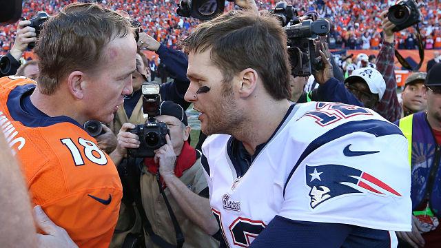 Denver Broncos quarterback Peyton Manning and New England Patriots quarterback Tom Brady