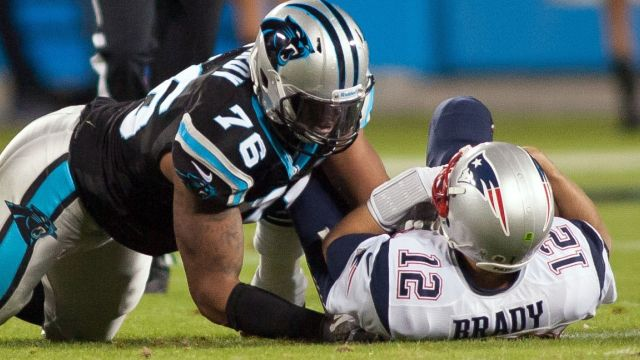 New England Patriots Tom Brady gets sacked in a gave vs. the Carolina Panthers