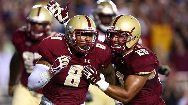 Boston College Eagles defensive lineman Harold Landry and linebacker Matt Milano