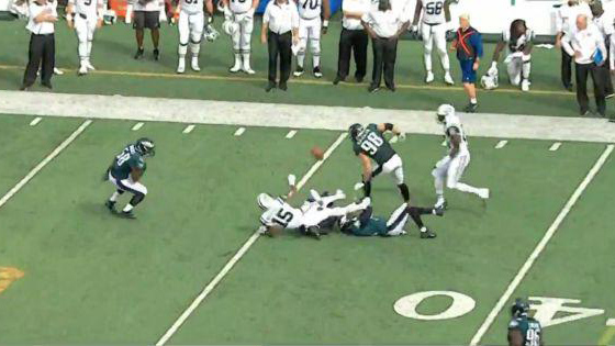 Jets' Brandon Marshall attempts a lateral