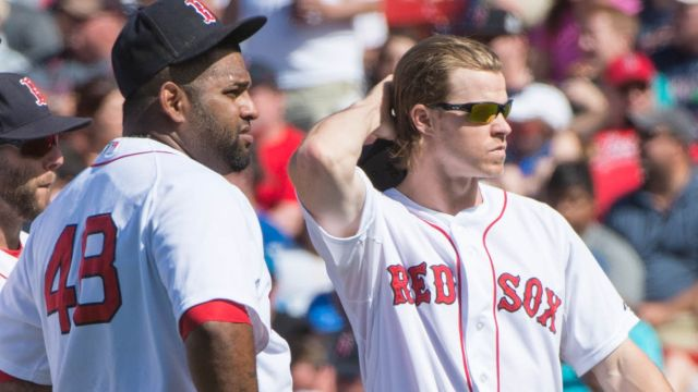 Boston Red Sox players Pablo Sandoval and Brock Holt