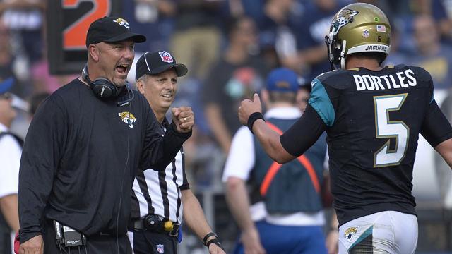 Jacksonville Jaguars head coach Gus Bradley and Blake Bortles