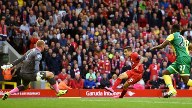 John Ruddy saves Philippe Coutinho's shot in Liverpool's draw with Norwich City