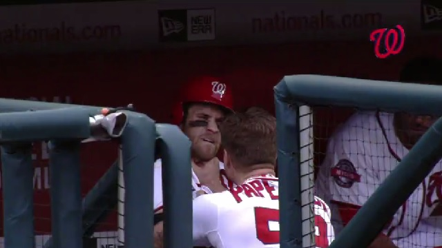 Nationals pitcher Jonathan Papelbon and outfielder Bryce harper get into a dugout fist fight