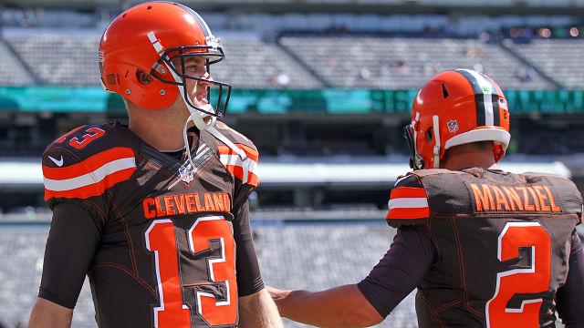 Cleveland Browns quarterbacks Josh McCown and Johnny Manziel