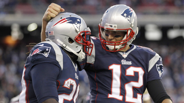 New England Patriots running back LeGarrette Blount and quarterback Tom Brady
