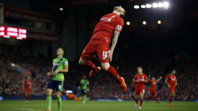 Alberto Moreno in Liverpool's Premier League draw with Southampton