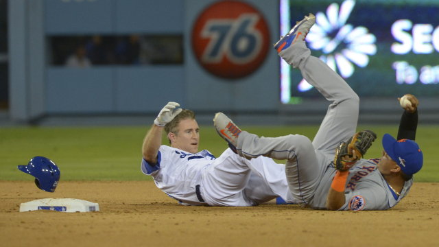 Los Angeles Dodgers second baseman Chase Utley and New York Mets shortstop Ruben Tejada