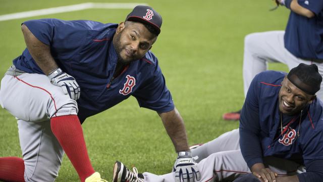 Pablo Sandoval and Hanley Ramirez of the Boston Red Sox
