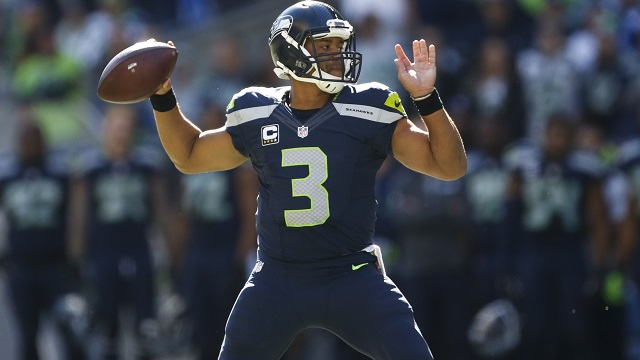 Seahawks quarterback Russell Wilson throws a pass