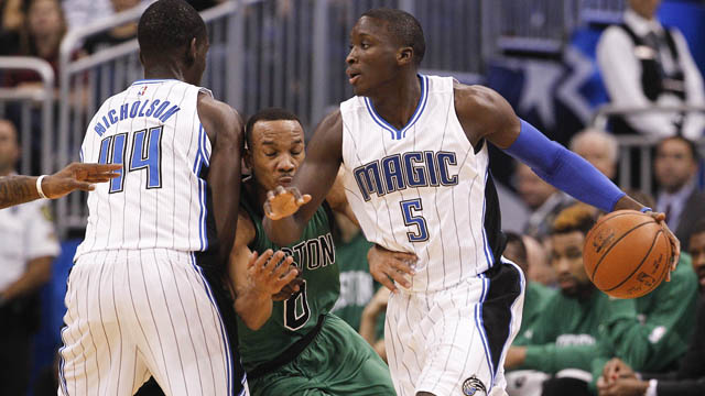 Celtics guard Avery Bradley plays defense