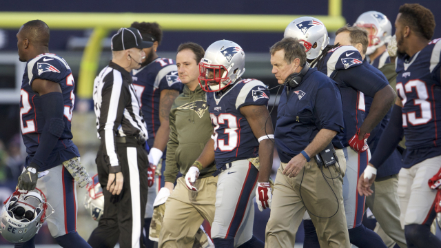New England Patriots running back Dion Lewis and head coach Bill Belichick