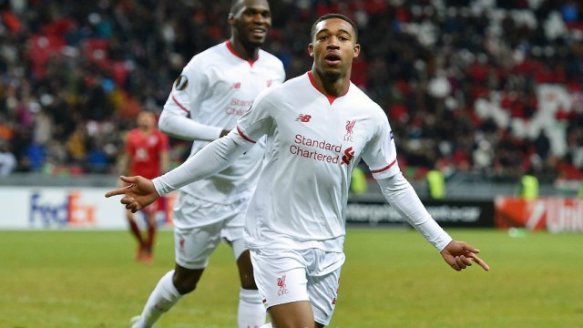 Jordon Ibe celebrates his first goal for Liverpool